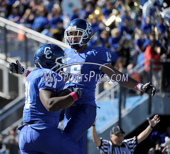 10/9/2010 Mike Orazzi | Staff CCSU's Eric Richardson (21) celebrates his TD catch with Richie Martin (19) TD pass  during Saturday's homecoming football game.