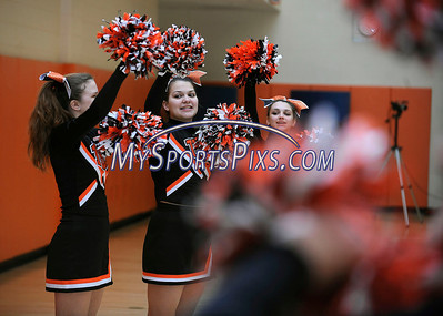 3/5/2013 Mike Orazzi | Staff Terryville High School cheerleaders at the start of the boys Class S First Round game between the Terryville Kangaroos and the Grasso Tech Eagles on Tuesday night.