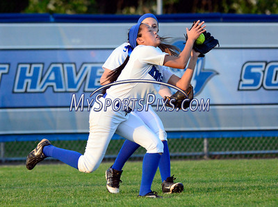 6/14/2014 Mike Orazzi | Staff Southington High School's Caroline Burke (3) and Emily Lippincott (26) during Saturday's Class LL Final with Amity at West Haven High School.