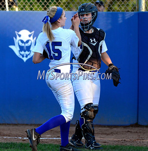 6/14/2014 Mike Orazzi | Staff Southington High School Kendra Friedt (15) and Rachel Dube (25) during Saturday's Class LL Final with Amity at West Haven High School.