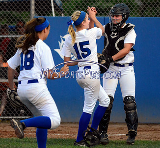 6/14/2014 Mike Orazzi | Staff Southington High School's Kendra Friedt (15) and Rachel Dube (25) during Saturday's Class LL Final with Amity at West Haven High School.