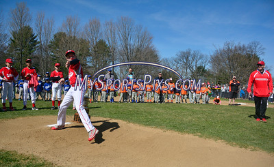 4/16/2016 Mike Orazzi | Staff Forestville Reds' Jacob Beaulieu throws out the first pitch on opening day for the Forestville Little League Saturday morning.
