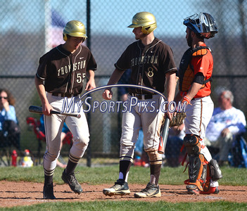 4/20/2016 Mike Orazzi | Staff Thomaston's Evan Butkevicius (55) after scoring at THS Wednesday afternoon.