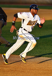 4/23/2016 Mike Orazzi | Staff New Britain Bees's Anthony Hewitt (15) Saturday night.