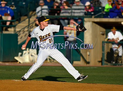 4/23/2016 Mike Orazzi | Staff New Britain Bees Cole Johnson (21) on the mound Saturday night.