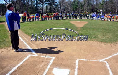 4/16/2016 Mike Orazzi | Staff Bristol Blues General Manager Rick Muntean introduces players on opening day Saturday morning in Forestville.