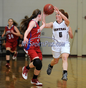2/17/2016 Mike Orazzi   Staff Bristol Central's Brianna Hamel (15) and Berlin's Angela Perrelli (5) Wednesday night at Central.