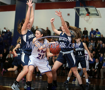 3/3/2016 Mike Orazzi | Staff St. Paul's Lizzy Cretella (21) and Immaculate's Marcella Daily (12) and McKinsey Jarboe (20) during the Class M Second Round in Bristol Thursday night.