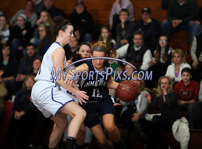 3/3/2016 Mike Orazzi | Staff St. Paul's Emily Sklenka (3) and Immaculate's Marcella Daily (12) during the Class M Second Round in Bristol Thursday night.
