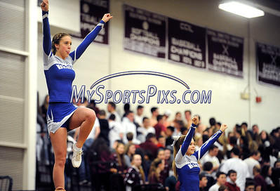 1/22/2016 Mike Orazzi   Staff Bristol Eastern High School cheerleaders at the start of the Eastern vs Central boys basketball game.