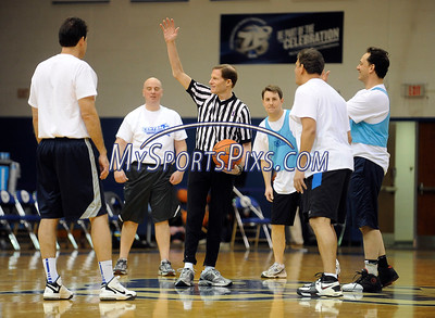 2/20/2016 Mike Orazzi | Staff US Senator Richard Blumenthal, co-founder of Interval House's men's initiative as referee during the the 7th Annual Men Make a Difference, Men Against Domestic Violence Celebrity Half-Time Basketball Game in Detrick Gymnasium at CCSU on Saturday.