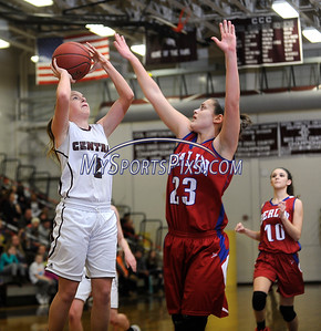 2/17/2016 Mike Orazzi   Staff Bristol Central's Alllie Martel (2) and Berlin's Alyssa Grant (23) Wednesday night at Central.