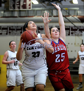 2/17/2016 Mike Orazzi   Staff Berlin's Sam Lynes (25) and Bristol Central's Jurnee Weymer (23)  Wednesday night at Central.