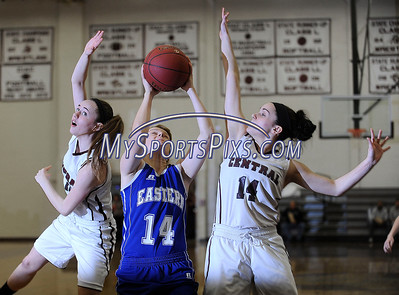 2/242/2016 Mike Orazzi   Staff Bristol Eastern's Diana Wnuk (14) and Bristol Central's Ashley Watson (10) and Sam Paradis (14) at BCHS Wednesday night.