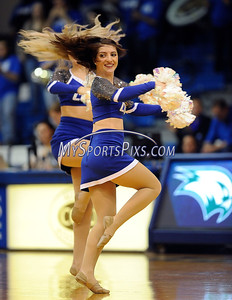 2/20/2016 Mike Orazzi | Staff Members of the Central Connecticut Dance Team during Saturday's basketball game with Wagner in Detrick Gymnasium at CCSU on Saturday.