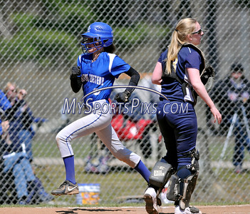 4/15/2016 Mike Orazzi | Staff Bristol Eastern's Jordan Fitzsimons (10) after her second of two home runs on Friday at Eastern.