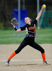 4/28/2016 Mike Orazzi | Staff Watertown High School's Kaley Langlois (1) pitching at St Paul Catholic High School Thursday in Bristol.