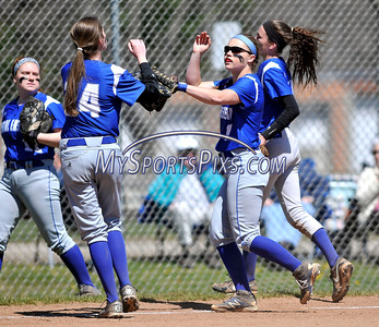 4/15/2016 Mike Orazzi | Staff Bristol Eastern's Anna Kelley (14) and Jen Tabacco (7) on Friday at Eastern.